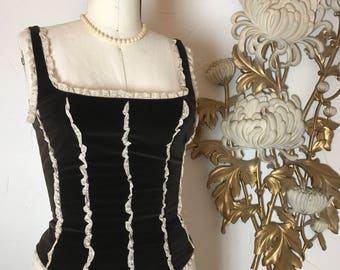 RESERVED 1990s tank top velvet top corset top size medium vintage tank top Valentino blouse vintage corset