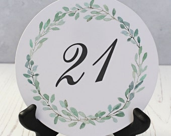 Wedding Table Number - Watercolor Table Number Card -  Round Table Numbers - Greenery Wreath Table Number -  Spring Wedding Table Numbers
