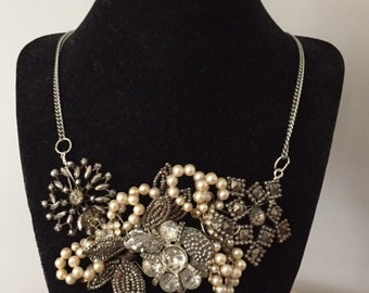 Vintage Silver & Pearls Brooch Statement Necklace-  Bib Jewelry- Rhinestone  Pearl Accessories- Statement  wedding Jewelry