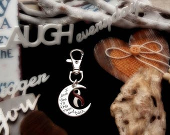 BY-6 Head and Neck Cancer Awareness Throat Cancer Oral Cancer I Love You To The Moon and Back Keychain To The Moon & Back Gift For Her