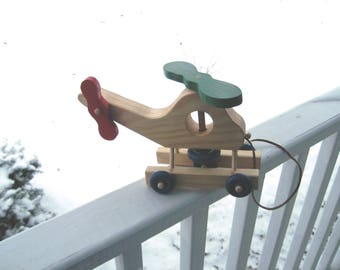 Wood Helicopter pull toy