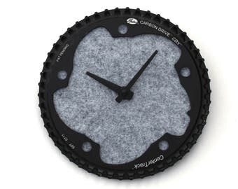 Bicycle Gear Clock - Gray Carbon | Bike Clock | Wall Clock | Recycled Bike Parts Clock