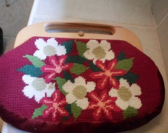 Floral Cross Stitch purse with Wood handle. small