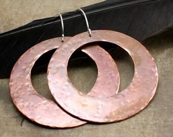 Big Copper Hammered Hoop Earings
