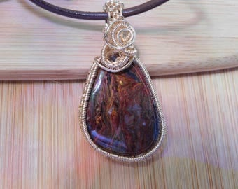 Rust Maroon Brown Flaming Pietersite Pendant Cabochon 14K Gold Filled Wire Wrapped Handmade Jewelry Scifi Boho Renaissance Amulet Medallion