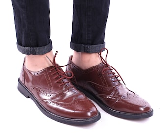 Leather Brogues Men's 70s Brown Real Leather Vintage Shoes Lace Up Derby Oxford Comfortable Wide Fit Shoe Men Gift Eu 43, Us men 9, Uk 8 .5