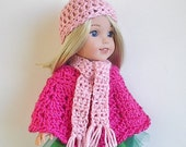 """14.5"""" Pink Poncho Hat and Scarf Set Handmade and Crocheted to fit the Wellie Wishers and other similar 14"""" dolls"""
