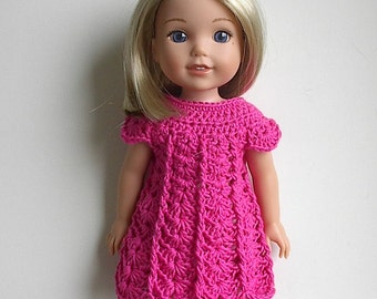 "14.5"" Doll Clothes Crocheted Pink Dress Handmade to fit the Wellie Wishers doll and other similar dolls Bright Pink Dres"
