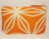 Geo Print Orange & White Make Up Bag, Zip Purse, Pouch, Ipod and Earphones Case. Geometric Print.