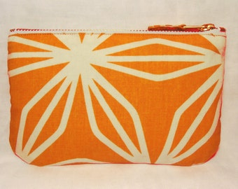 Geo Print Orange & White Make Up Bag, Zip Purse, Pouch, Ipod and Earphones Case. Geometric Print.