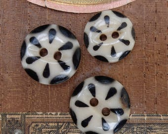 Vintage China Stencil Buttons Black
