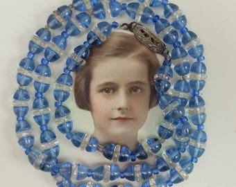 Vintage Blue Glass Bead Necklace 1930s