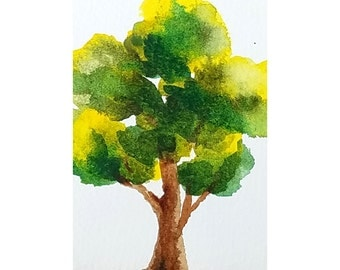 ACEO Summer Tree, Tiny Tree Art, Miniature Tree Painting, Watercolor Original Art, Green Tree Art, Desk Art, Office Gift, Mom Gift, SFA ACEO
