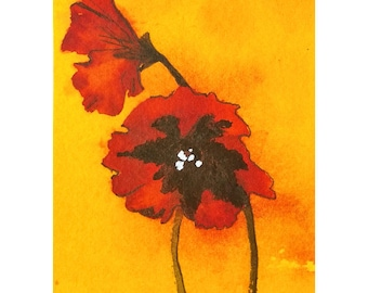 ACEO Original Red Poppy Flower Painting on Yellow Orange Very Collectible Art, Cheerful Flower Gift to Enclose With Get Well or Care Card