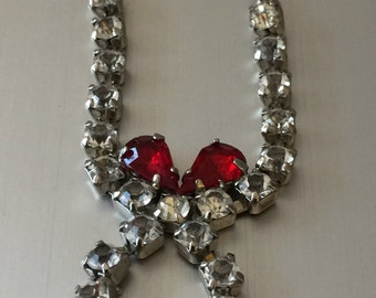 Vintage Red Bow Rhinestone Necklace