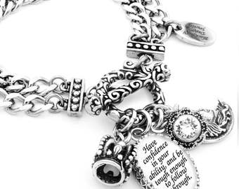 Inspirational Charm Bracelet, Silver Inspirational Jewelry, Stainless Steel Bracelet, Have Confidence in Your Ability