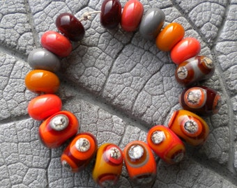 Opaques and Silvered Ivory Stringer Lampwork Beads by Cherie Sra R114 Flameworked Glass Beads Lampwork Red Orange Coral Brown Stacked Dots