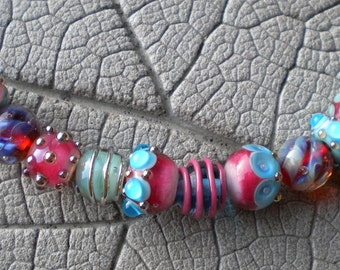 Pink Turquoise Lampwork Beads by Cherie Sra R114 Flameworked Glass Bead Pink Turquoise Lampwork Bead Double Helix  Silver Glass Lampwork