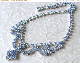 20% SALE Something Blue Rhinestone Necklace 1950s Vintage Jewelry Choker Bib Drape Wedding Bridal Formal Bridesmaid Pageant Ballroom Prom Ac