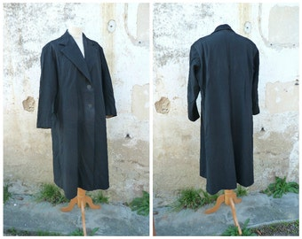 Vintage 1940/1950 French wool black coat size L/XL
