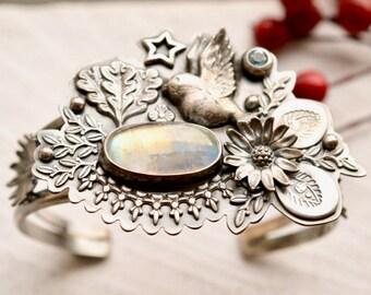 Silver Statement Cuff Bracelet, Rainbow Moonstone Cuff, Detailed Botanical Cuff Bracelet, Ornate Silver Bracelet, Hand Stamped Cuff