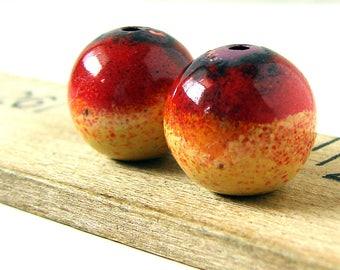 Red and Yellow Enamel Round Copper Beads
