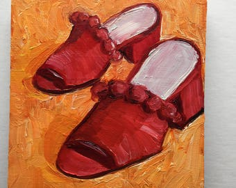 Red Pom Pom Shoes on Orange Original Oil Painting Daily Painting