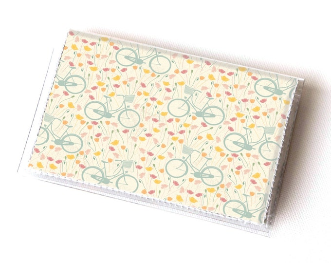 NEW Handmade Vinyl Card Holder - Spring Bicycles  / card case, vinyl wallet, women's wallet, small wallet, pretty, floral, bikes, bicycle