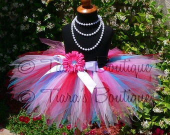 "Girls tutu Skirt - Birthday Tutu - Slushie - red, white, turquoise blue and hot pink - Custom SEWN 11"" Pixie Tutu - sizes Newborn up to 5T"
