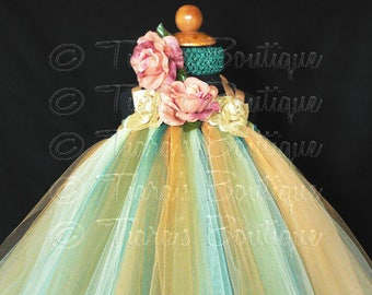 """Golden Autumn, Gold Green and Yellow Custom Sewn Flower Girl Tutu Dress, up to 20"""" long, up to 24 months, for Fall weddings, Thanksgiving"""
