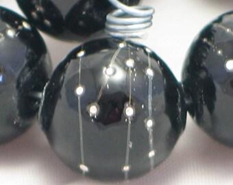 Handmade Glass Lampwork Beads, focal filler art bead Black/Pure Silver 11mm round