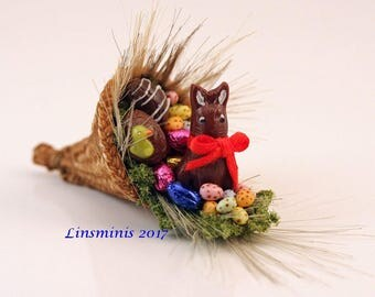 12th scale handmade dollhouse miniature Easter Cornucopia