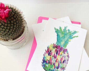 Pineapple Notecard Set - Colorful Greeting Card - Blank Note card - Watercolor Pineapple Note Card - Thank you - Greeting - Just Because Art