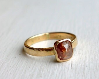 Rose Cut Diamond in Recycled 14k and 18k gold