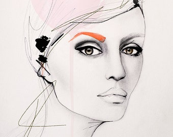 At The Time - Fashion Illustration Art Print, Portrait, Mixed Media Painting by Leigh Viner