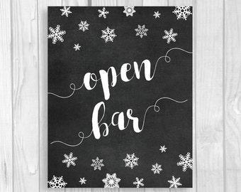 Open Bar 5x7, 8x10 Printable Chalkboard Sign - Snowflakes - Beer, Wine, Beverages - Winter Wedding or Bridal Shower - Instant Download