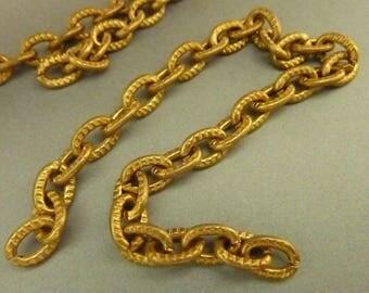 2 Vintage Hammered Brass Charm Bracelet Chains (7 in)