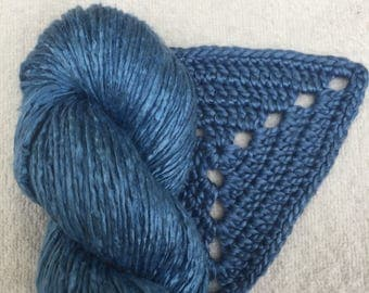 Silk Yarn Hand Dyed worsted weight - Airforce Blue