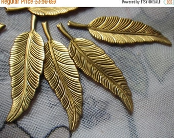ON SALE 18% off Vintage Brass Feather Stampings 33x11mm 6 Pcs