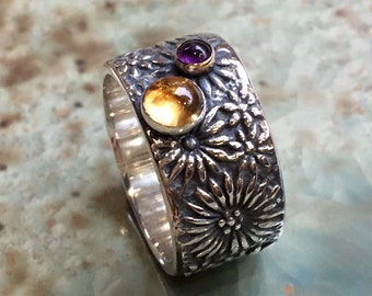 Citrine amethyst ring, silver gold ring, birthstones ring, flower band, botanical ring, twotone ring, mothers ring - Two Worlds R2437