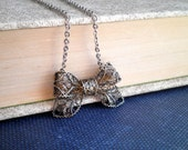 Antique Filigree Bow Necklace - Antiqued Silver Vintage Bow Pendant - Shabby Chic Small Bow Retro Jewelry Gift For Her - Bow Charm Necklace