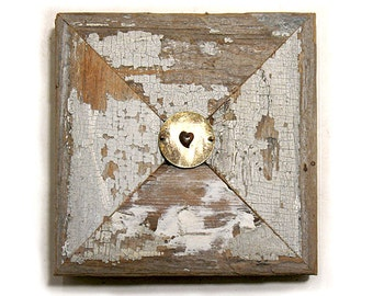 X Marks the Spot - Heart Art - Valentine Art - Mixed Media  Vintage Wood  Collage - Celebratory - Minimalist -  Assemblage Art - Wall Art