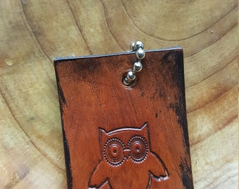 Leather Owl Key Chain Tag Hand Stamped