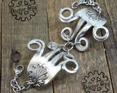 Ornate Fork Bracelet - Adjustable - Handcrafted by Doctor Gus - Beautiful Antique Inspired Flowery Boho Design - Handmade from Pewter Forks