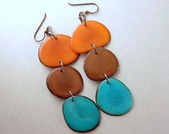 Camel, Brown, Turquoise Blue Shoulder Duster Trio of Tagua Nut Eco Earrings with Free USA Shipping #taguanut #ecofriendlyjewelry