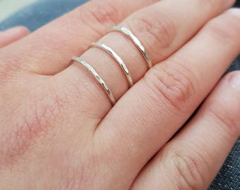 Sterling silver triple ring, three band ring, hammered silver ring, silver cage ring