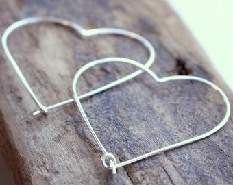 Sterling Silver Heart Hoops, Silver Heart Earrings, heart hoops, hoop earrings