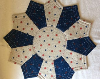 Americana themed Reversible Candlemat; Miniature Quilt; Small Quilt;Table mat, Blue flags