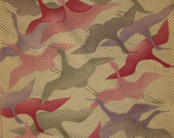 Vintage Kimono Silk  - Dyed Cranes - Shibori Print