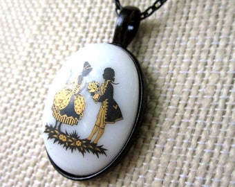Courtier Choker - painted glass oval pendant has French Provincial couple on enameled black chain - Free Shipping to USA